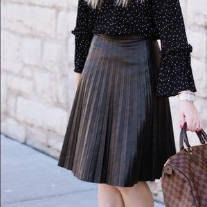 J. Crew Black Faux Leather Pleated Midi Skirt